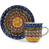 7 oz Stoneware Cup with Saucer - Polmedia Polish Pottery H8431G