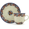 7 oz Stoneware Cup with Saucer - Polmedia Polish Pottery H8444G
