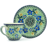 7 oz Stoneware Cup with Saucer - Polmedia Polish Pottery H9590A
