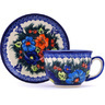 7 oz Stoneware Cup with Saucer - Polmedia Polish Pottery H9627G