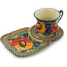 7 oz Stoneware Cup with Tray - Polmedia Polish Pottery H1182F