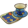 7 oz Stoneware Cup with Tray - Polmedia Polish Pottery H4923I