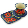 7 oz Stoneware Cup with Tray - Polmedia Polish Pottery H6195I
