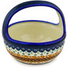 8-inch Stoneware Basket with Handle - Polmedia Polish Pottery H0366D