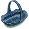 8-inch Stoneware Basket with Handle - Polmedia Polish Pottery H2100H