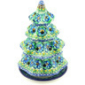 8-inch Stoneware Christmas Tree Candle Holder - Polmedia Polish Pottery H0365G