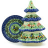 8-inch Stoneware Christmas Tree Candle Holder - Polmedia Polish Pottery H2156H