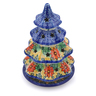 8-inch Stoneware Christmas Tree Candle Holder - Polmedia Polish Pottery H2593I