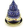 8-inch Stoneware Christmas Tree Candle Holder - Polmedia Polish Pottery H5897D
