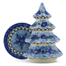 8-inch Stoneware Christmas Tree Candle Holder - Polmedia Polish Pottery H6636A