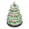8-inch Stoneware Christmas Tree Candle Holder - Polmedia Polish Pottery H7730G