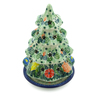 8-inch Stoneware Christmas Tree Candle Holder - Polmedia Polish Pottery H8603I