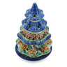 8-inch Stoneware Christmas Tree Candle Holder - Polmedia Polish Pottery H8604I