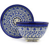 8-inch Stoneware Colander with Plate - Polmedia Polish Pottery H0111F