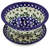 8-inch Stoneware Colander with Plate - Polmedia Polish Pottery H6445B