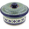 8-inch Stoneware Dish with Cover - Polmedia Polish Pottery H5124D