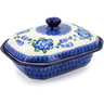 8-inch Stoneware Dish with Cover - Polmedia Polish Pottery H9143B