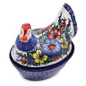 8-inch Stoneware Hen Shaped Jar - Polmedia Polish Pottery H7948C