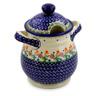 8-inch Stoneware Jar with Lid and Handles - Polmedia Polish Pottery H0489I