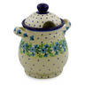 8-inch Stoneware Jar with Lid and Handles - Polmedia Polish Pottery H0686K