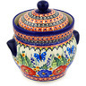 8-inch Stoneware Jar with Lid and Handles - Polmedia Polish Pottery H1249E