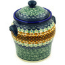 8-inch Stoneware Jar with Lid and Handles - Polmedia Polish Pottery H1899E