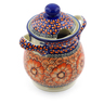 8-inch Stoneware Jar with Lid and Handles - Polmedia Polish Pottery H3155J