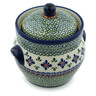 8-inch Stoneware Jar with Lid and Handles - Polmedia Polish Pottery H4137I