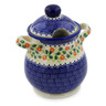 8-inch Stoneware Jar with Lid and Handles - Polmedia Polish Pottery H4263K