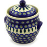 8-inch Stoneware Jar with Lid and Handles - Polmedia Polish Pottery H5608D