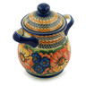 8-inch Stoneware Jar with Lid and Handles - Polmedia Polish Pottery H6181I