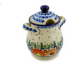 8-inch Stoneware Jar with Lid and Handles - Polmedia Polish Pottery H6391J