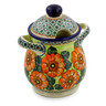 8-inch Stoneware Jar with Lid and Handles - Polmedia Polish Pottery H6444J
