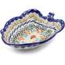 8-inch Stoneware Leaf Shaped Bowl - Polmedia Polish Pottery H0654F