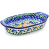 8-inch Stoneware Oval Baker with Handles - Polmedia Polish Pottery H2255B