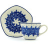 8 oz Stoneware Cup with Saucer - Polmedia Polish Pottery H0149G