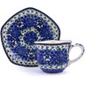 8 oz Stoneware Cup with Saucer - Polmedia Polish Pottery H0748G