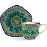 8 oz Stoneware Cup with Saucer - Polmedia Polish Pottery H4950G