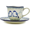 8 oz Stoneware Cup with Saucer - Polmedia Polish Pottery H8342J