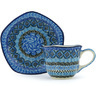 8 oz Stoneware Cup with Saucer - Polmedia Polish Pottery H8904G