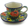 8 oz Stoneware Cup with Saucer - Polmedia Polish Pottery H9953I