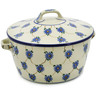 9-inch Stoneware Baker with Cover with Handles - Polmedia Polish Pottery H0176B