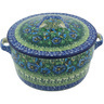 9-inch Stoneware Baker with Cover with Handles - Polmedia Polish Pottery H8357G
