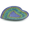 9-inch Stoneware Heart Shaped Platter - Polmedia Polish Pottery H5515G
