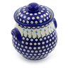 9-inch Stoneware Jar with Lid and Handles - Polmedia Polish Pottery H0574F