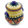 9-inch Stoneware Jar with Lid and Handles - Polmedia Polish Pottery H0729F