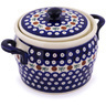 9-inch Stoneware Jar with Lid and Handles - Polmedia Polish Pottery H0807G