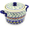 9-inch Stoneware Jar with Lid and Handles - Polmedia Polish Pottery H2676E