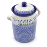 9-inch Stoneware Jar with Lid and Handles - Polmedia Polish Pottery H2790J