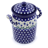 9-inch Stoneware Jar with Lid and Handles - Polmedia Polish Pottery H2864J